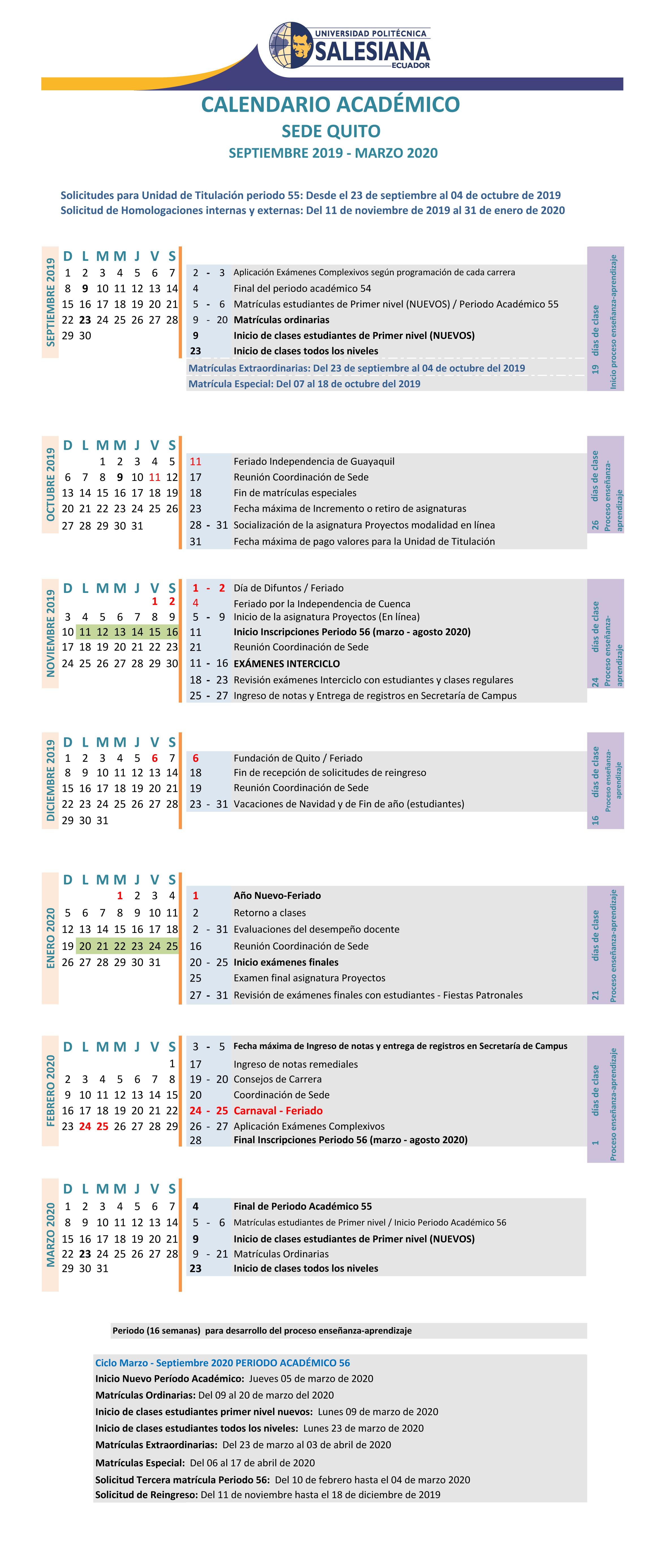 Calendario 2020 Portugues Com Feriados.Calendario Academico Ups