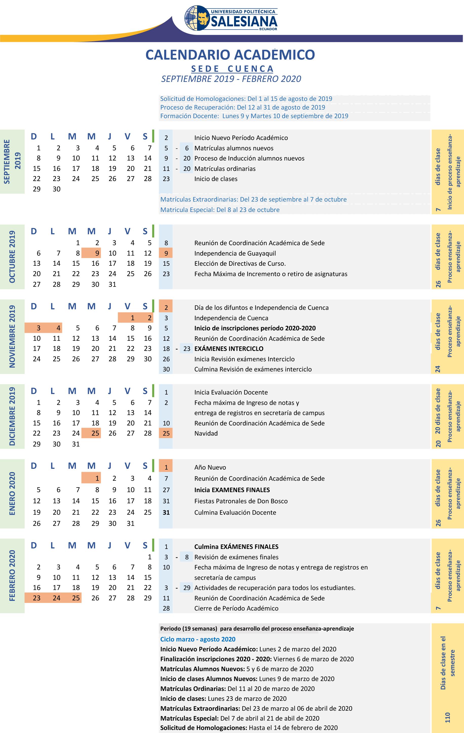 Calendario Escolar 2020 Las Palmas.Calendario Academico Ups