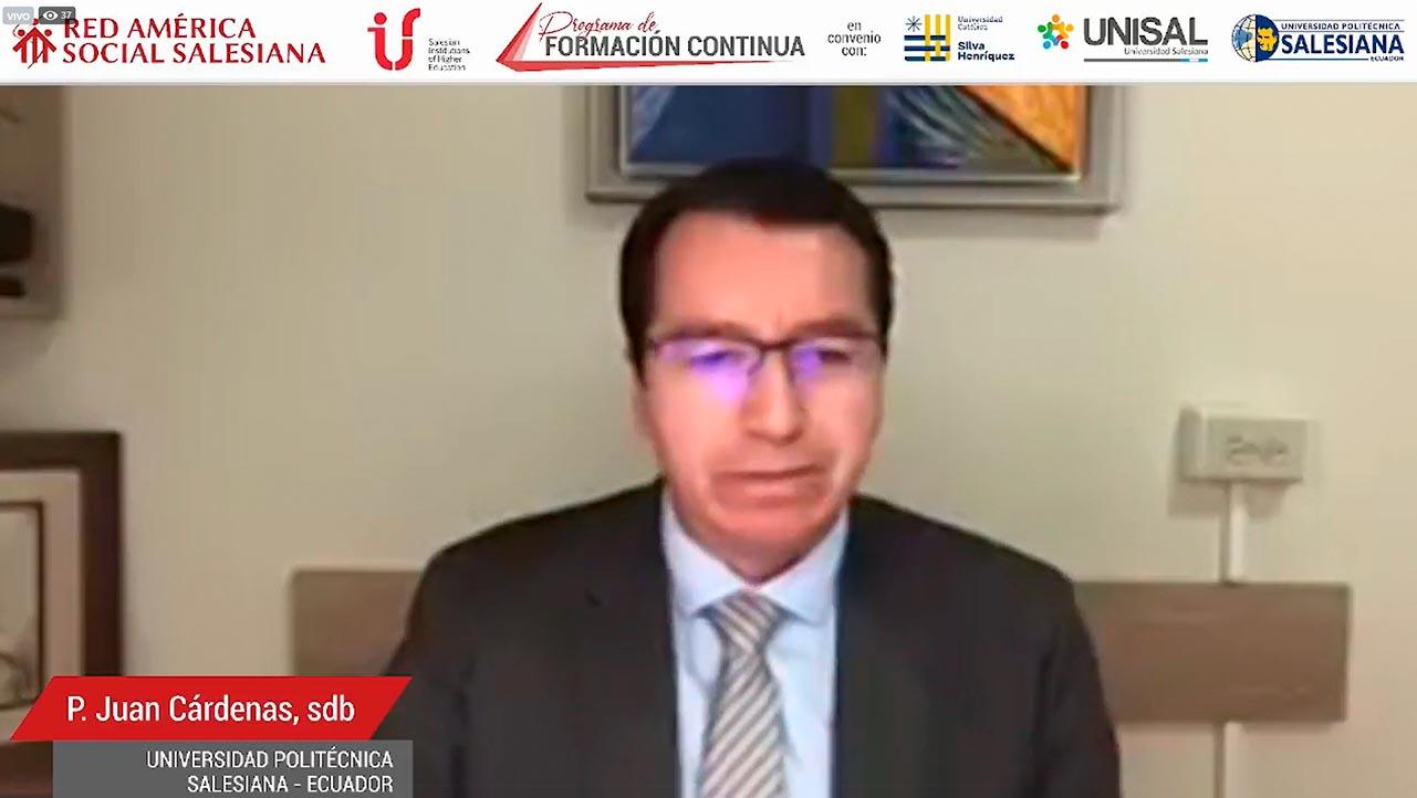 P. Juan Cárdenas, rector de la Universidad Politécnica Salesiana de Ecuador durante su intervención en la presentación virtual del Programa de Formación Continua de la Red América Social Salesiana (RASS)
