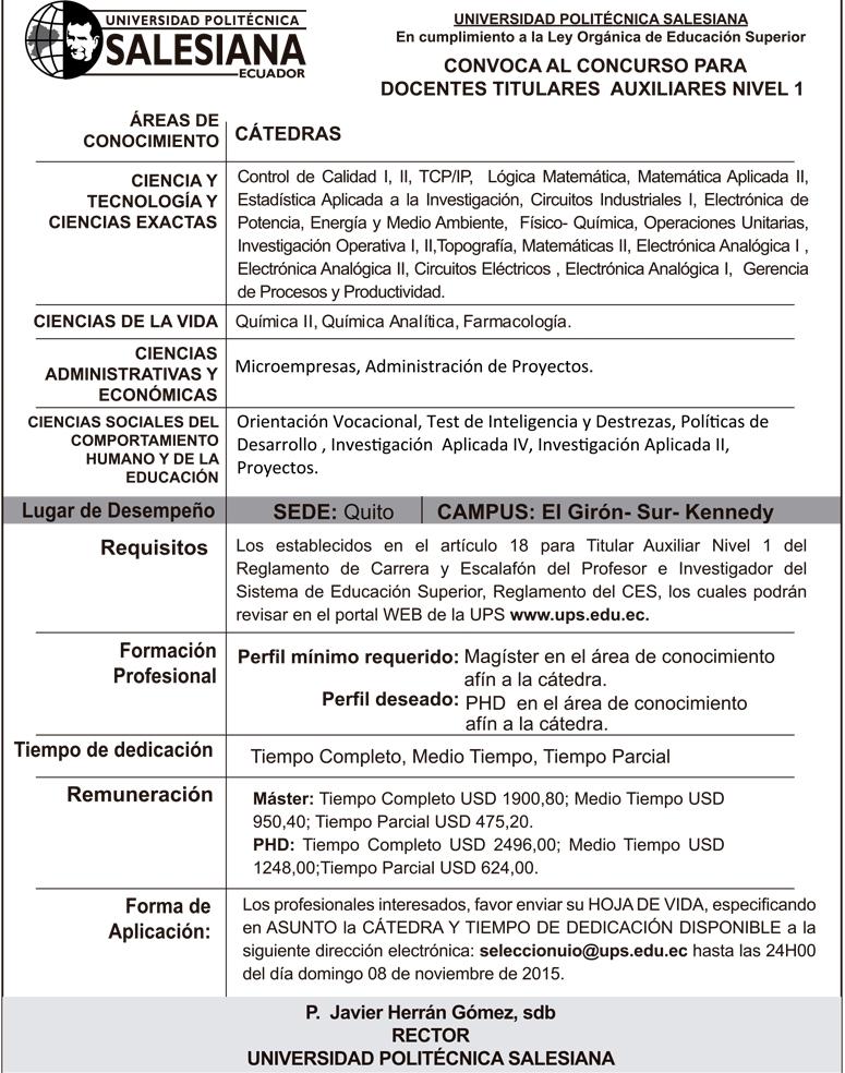 Convocatoria docente titular auxiliar centro de lecto for Convocatoria docente