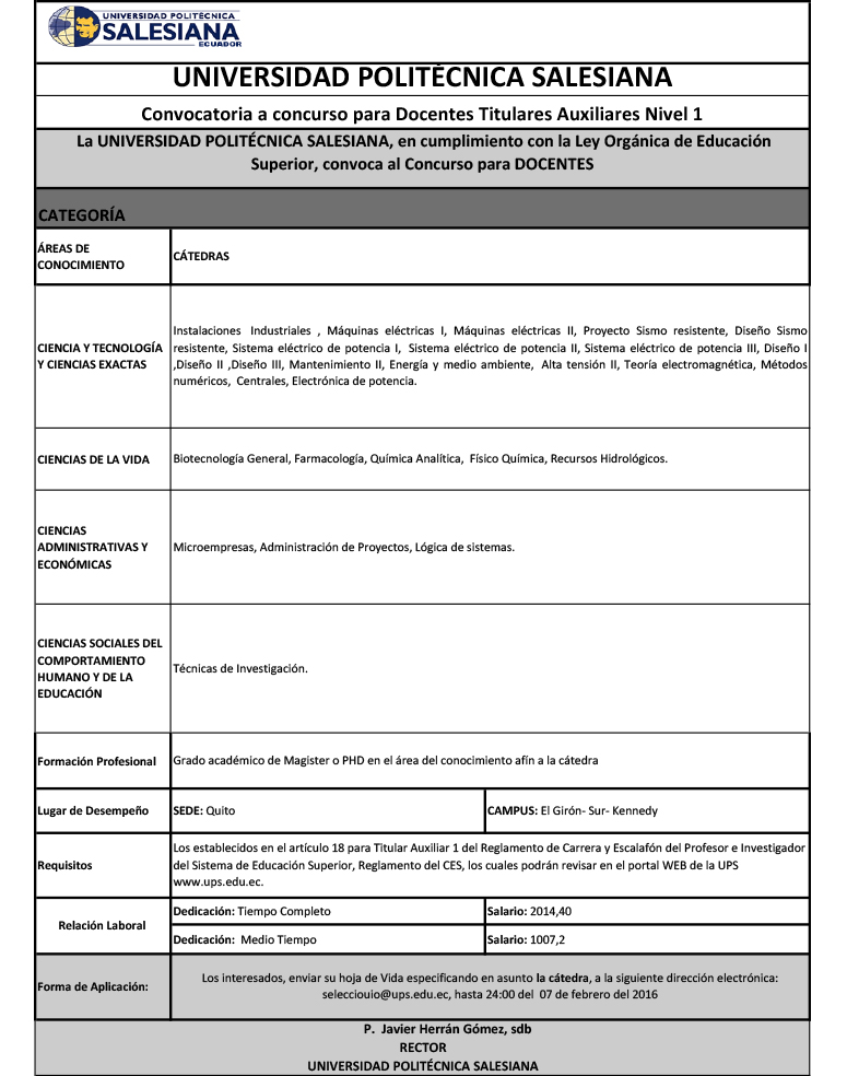 Convocatoria a concurso para docentes ups for Convocatoria concurso docente 2016