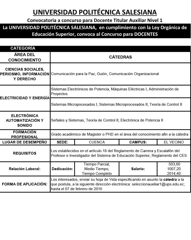 Convocatoria a concurso para docente titular auxiliar for Convocatoria para docentes