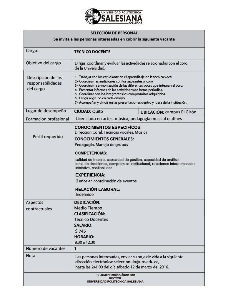 Convocatoria tecnico docente centro de lecto escritura for Convocatoria para docentes
