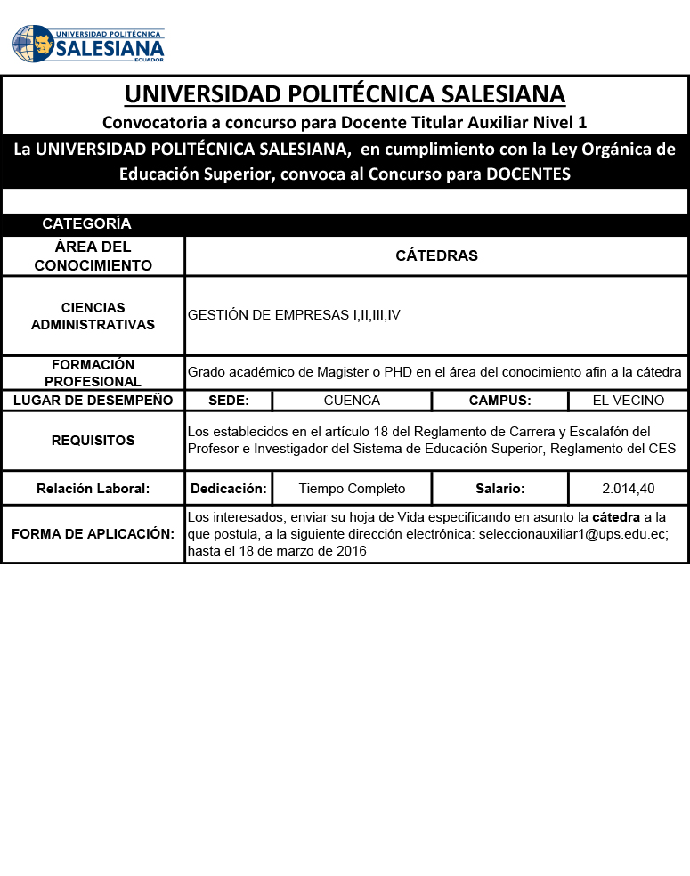 Convocatoria a concurso para docente titular auxiliar for Convocatoria concurso de docentes 2016