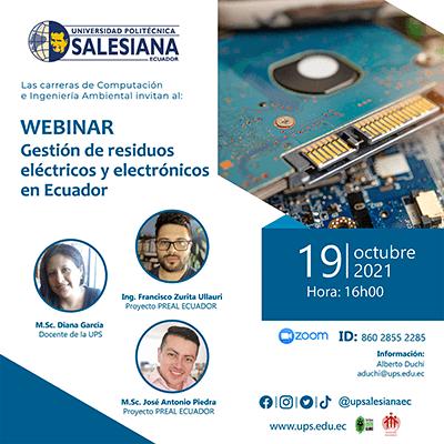 Afiche del Webinar: Gestión de residuos eléctricos y electrónicos en Ecuador